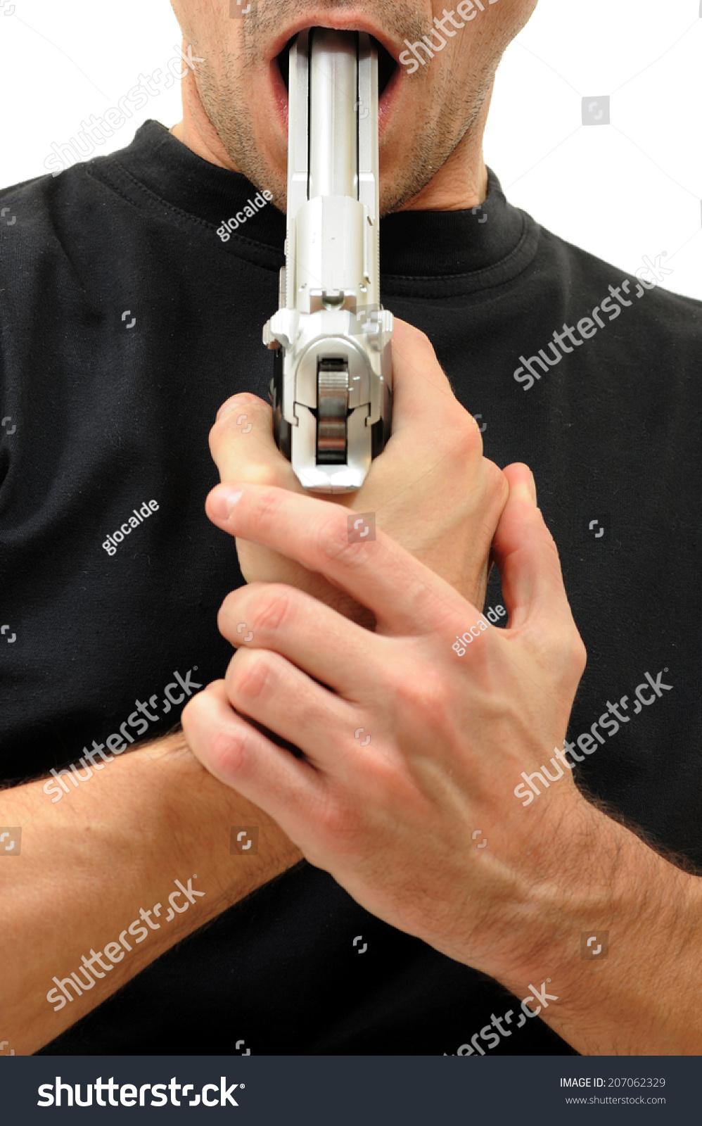 Man Gun Her Mouth Stock Photo Edit Now 207062329