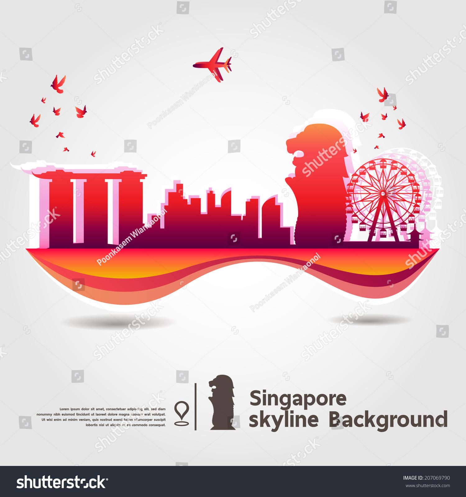 Stock Vector Singapore Skyline Background Vector Illustration