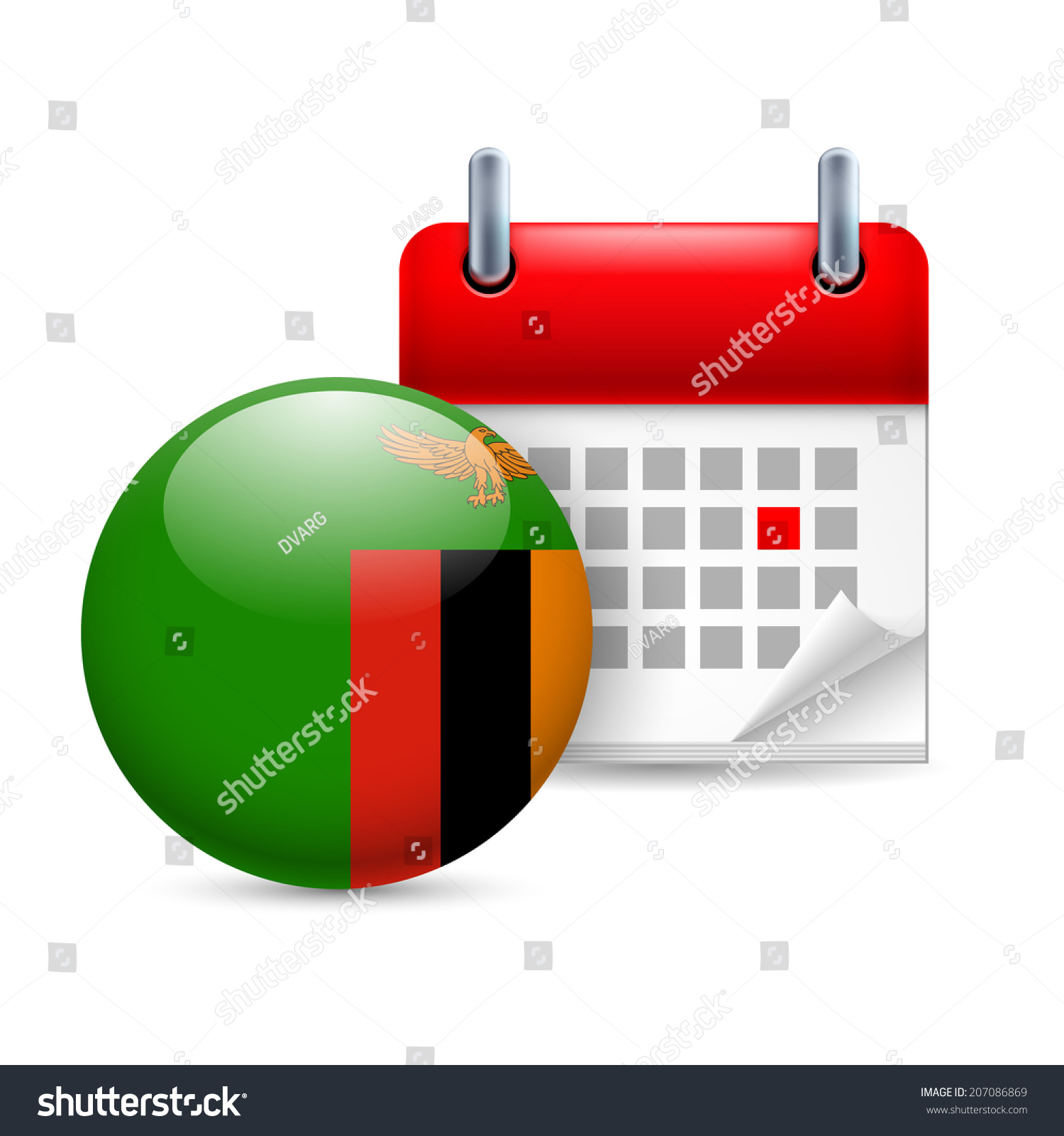 Calendar Zambia : Calendar and round zambian flag icon national holiday in