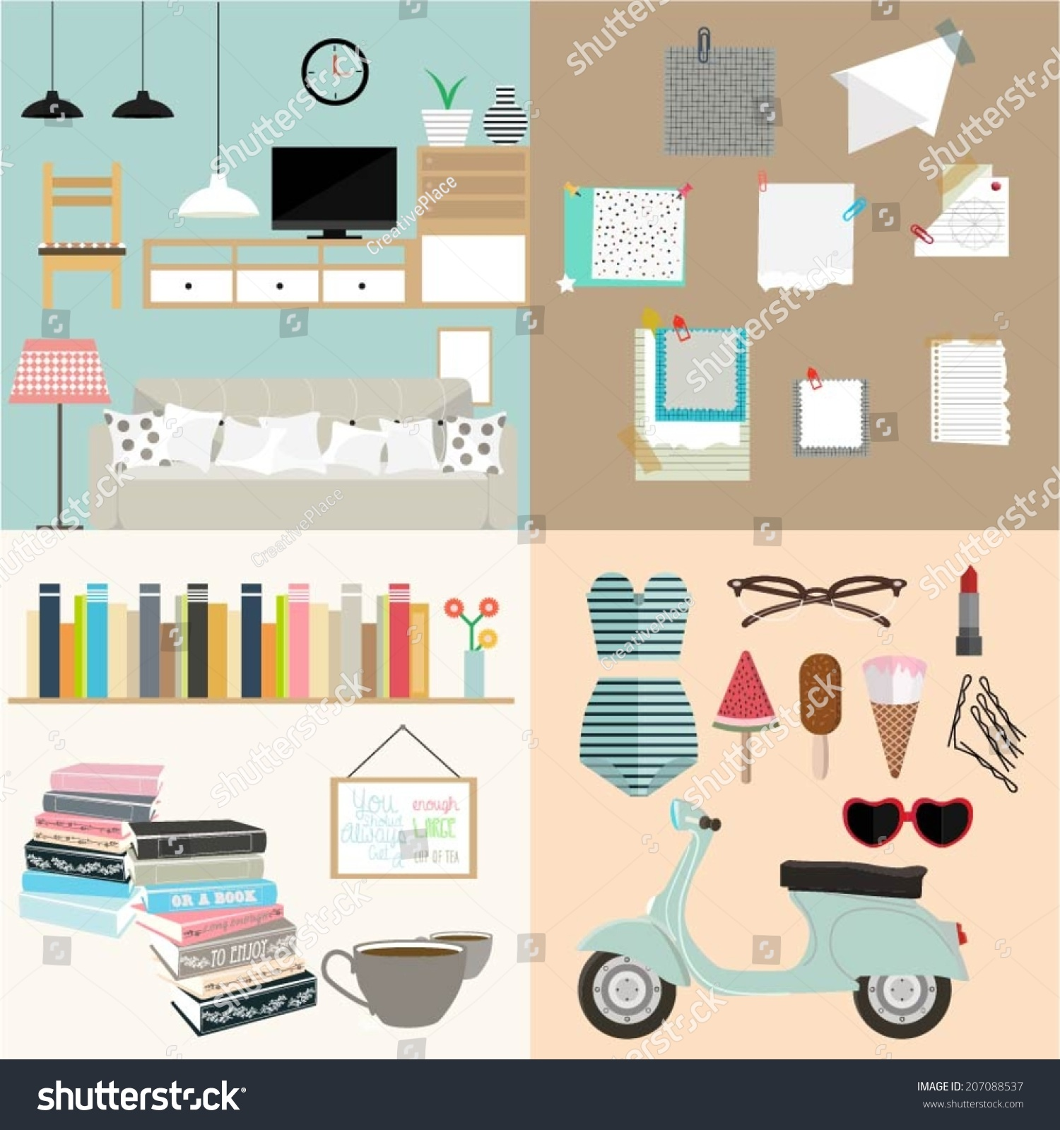 Set Of Flat Vintage Design Concept Illustrations Interior Note Cards Book Library And