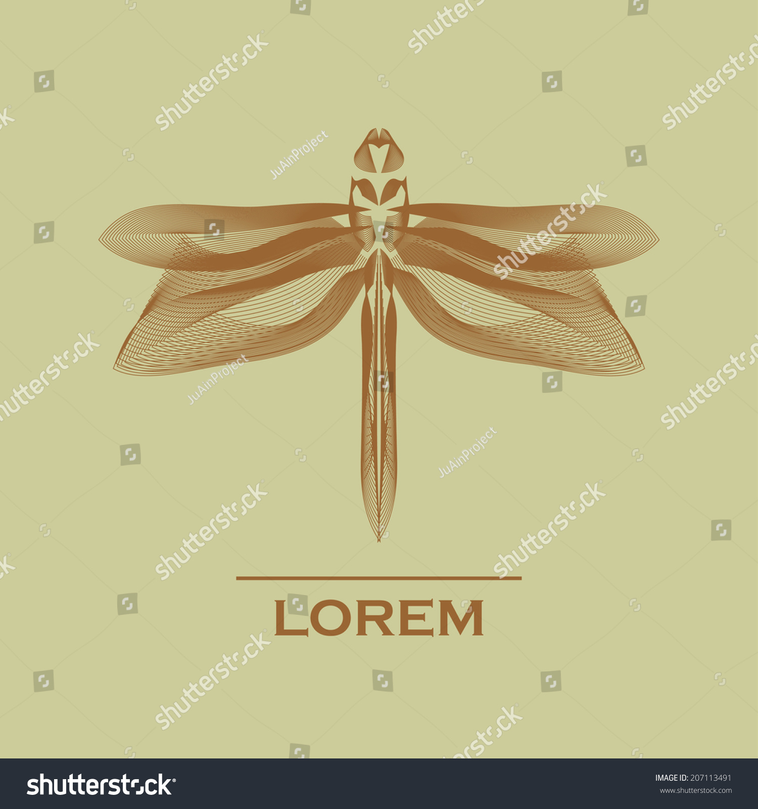 Abstract Dragonfly Symbol Composed Lines Stock Vector Hd Royalty