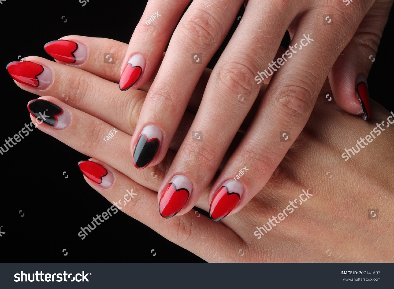 Red Painted Nails Hands Isolated On Stock Photo (Royalty Free ...