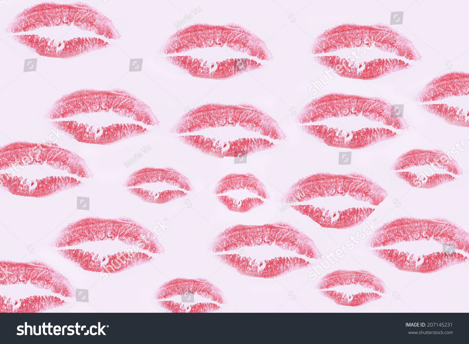 wallpaper red kisses pink lipstick background stock photo (royalty