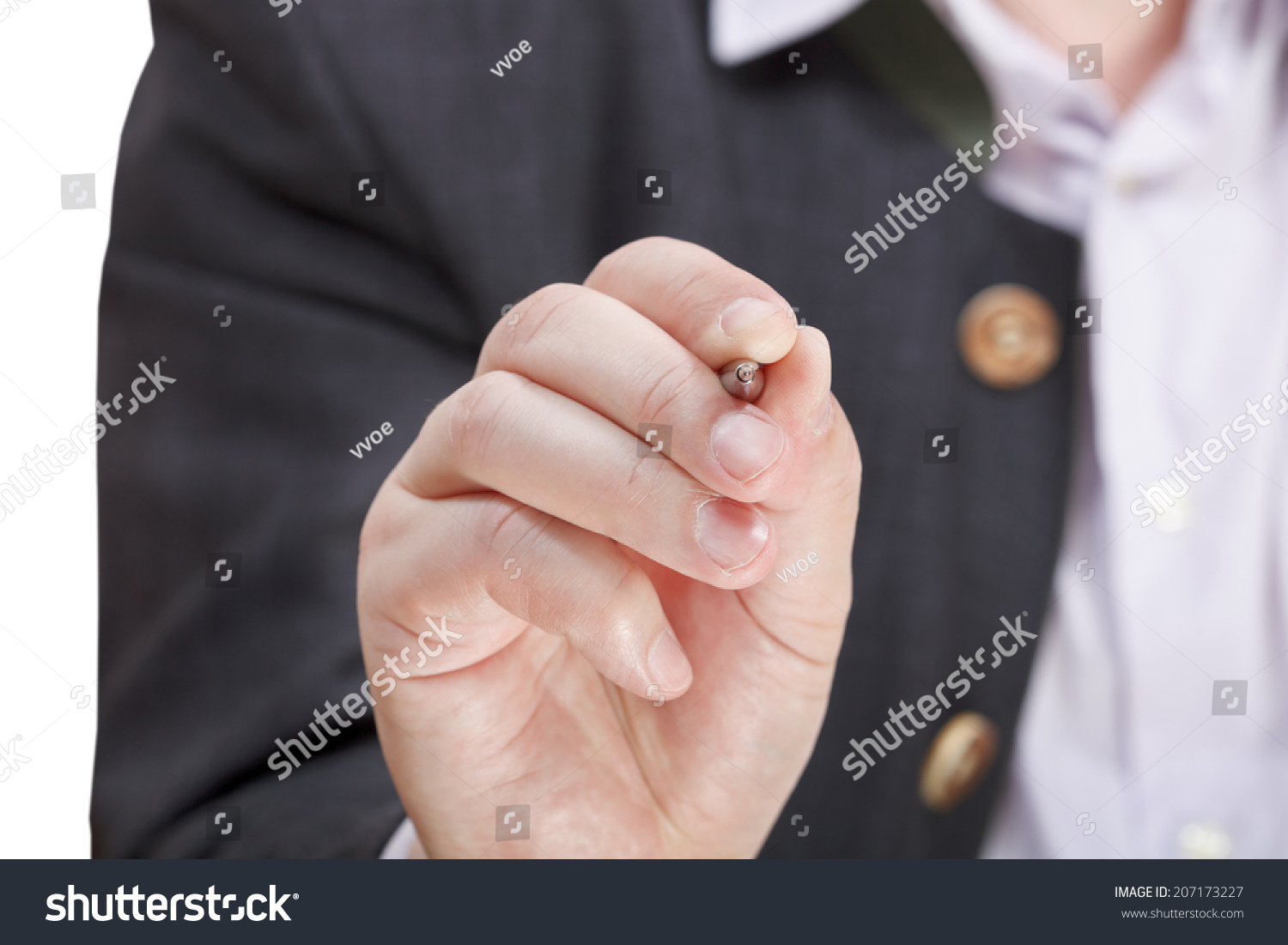 Front View Male Hand Silver Pen Stock Photo (Royalty Free) 207173227 ...