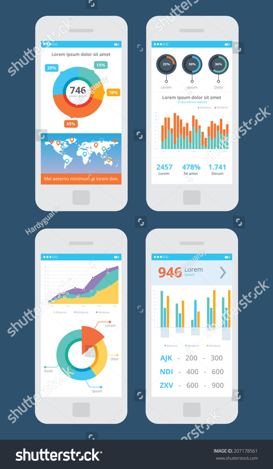 Wireframe business ui kit mobile app vector de stock207178561 wireframe business ui kit mobile app statistics graphs piecharts prices world gumiabroncs Image collections