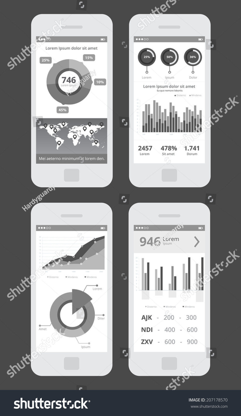 Wireframe business ui kit mobile app stock vector 207178570 wireframe business ui kit mobile app statistics graphs piecharts prices world gumiabroncs Gallery