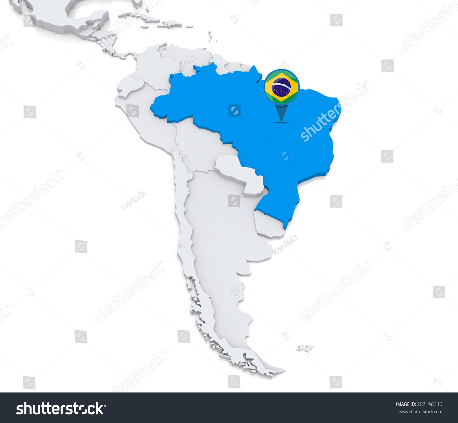 Highlighted brazil on map south america stock illustration 207198346 highlighted brazil on map of south america with national flag gumiabroncs Images