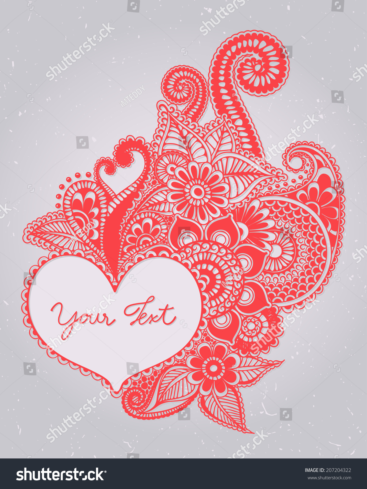 Heart Henna Mehndi Valentines Day Doodles Stock Vector 207204322 ...