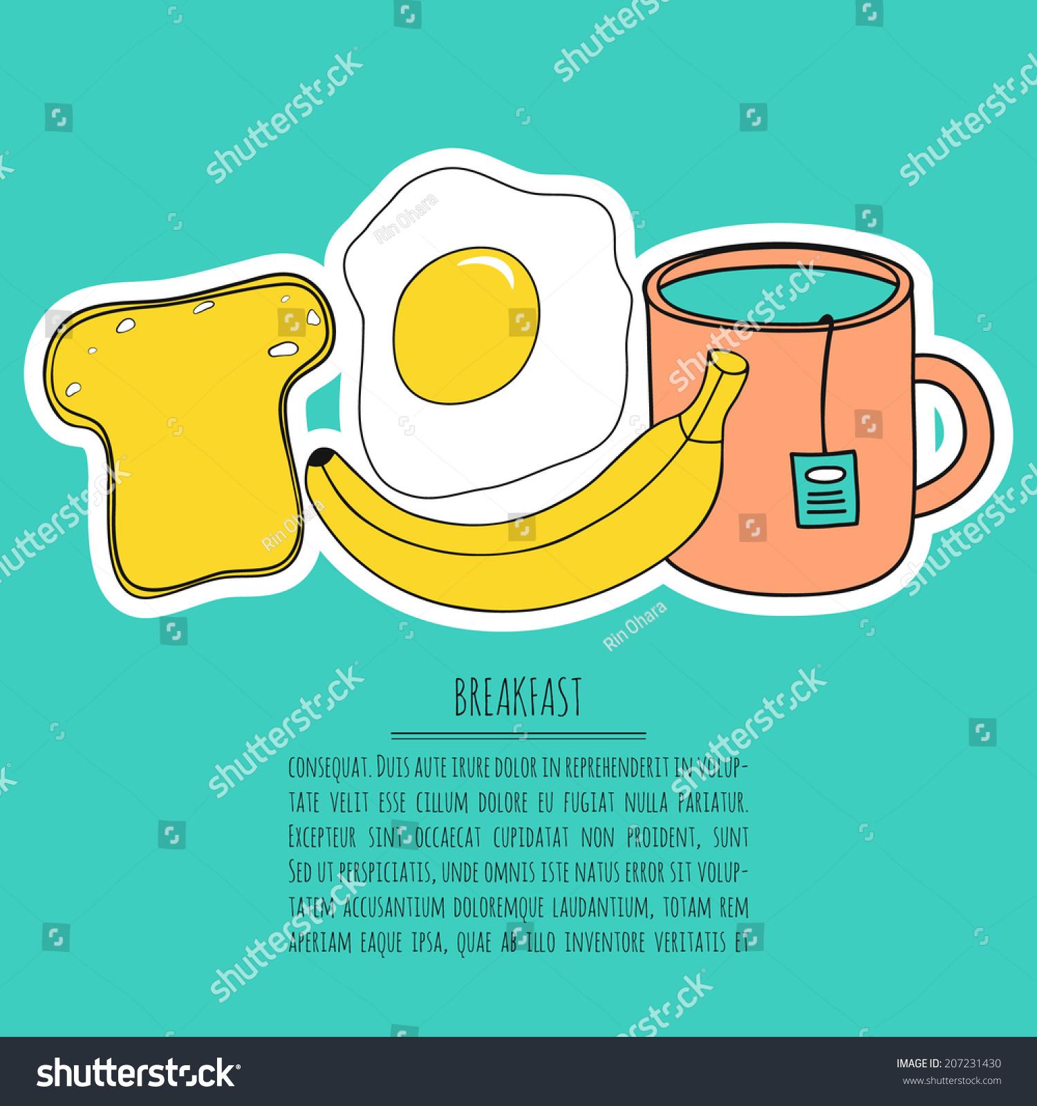 Cartoon Breakfast Vector Set Kitchen Cute Stock Vector (Royalty Free ...