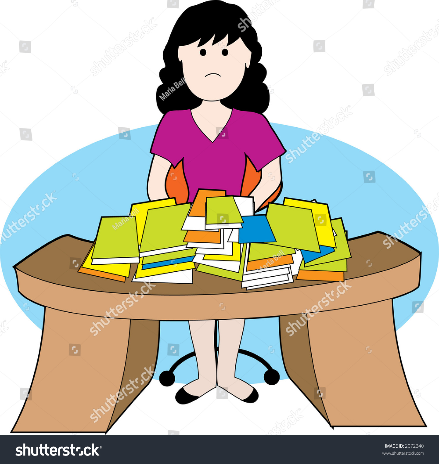 woman frustrated lots papers messy desk stock vector (royalty free