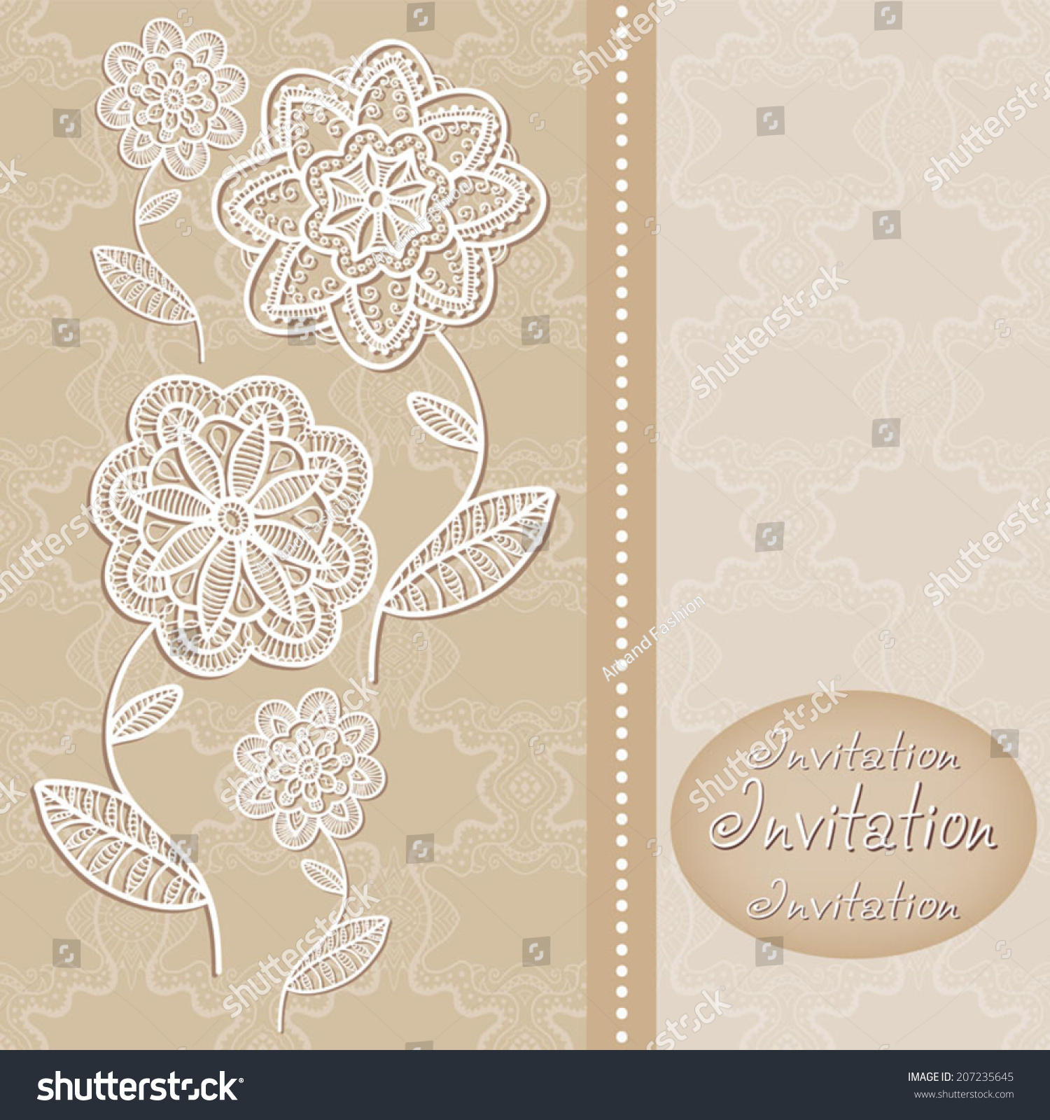 Abstract Flowers In Graphic Style, Lace Frame Border