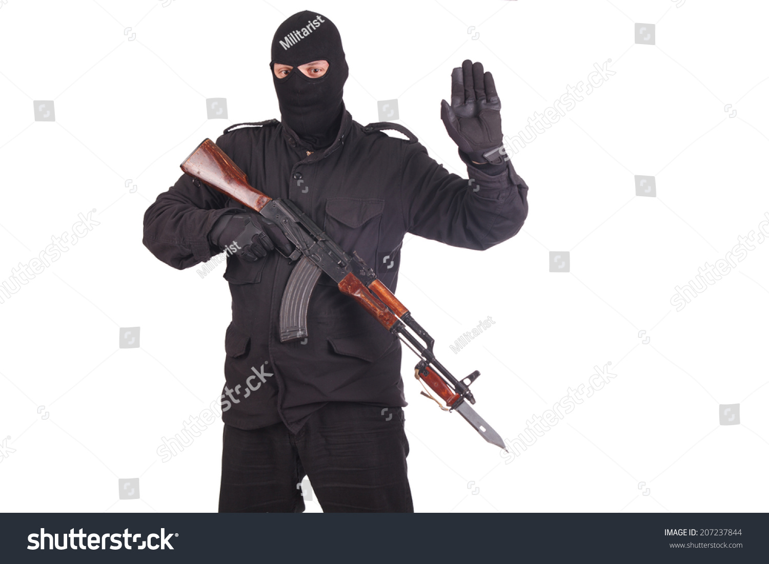Mercenary With AK 47 Gun Witn Bayonet