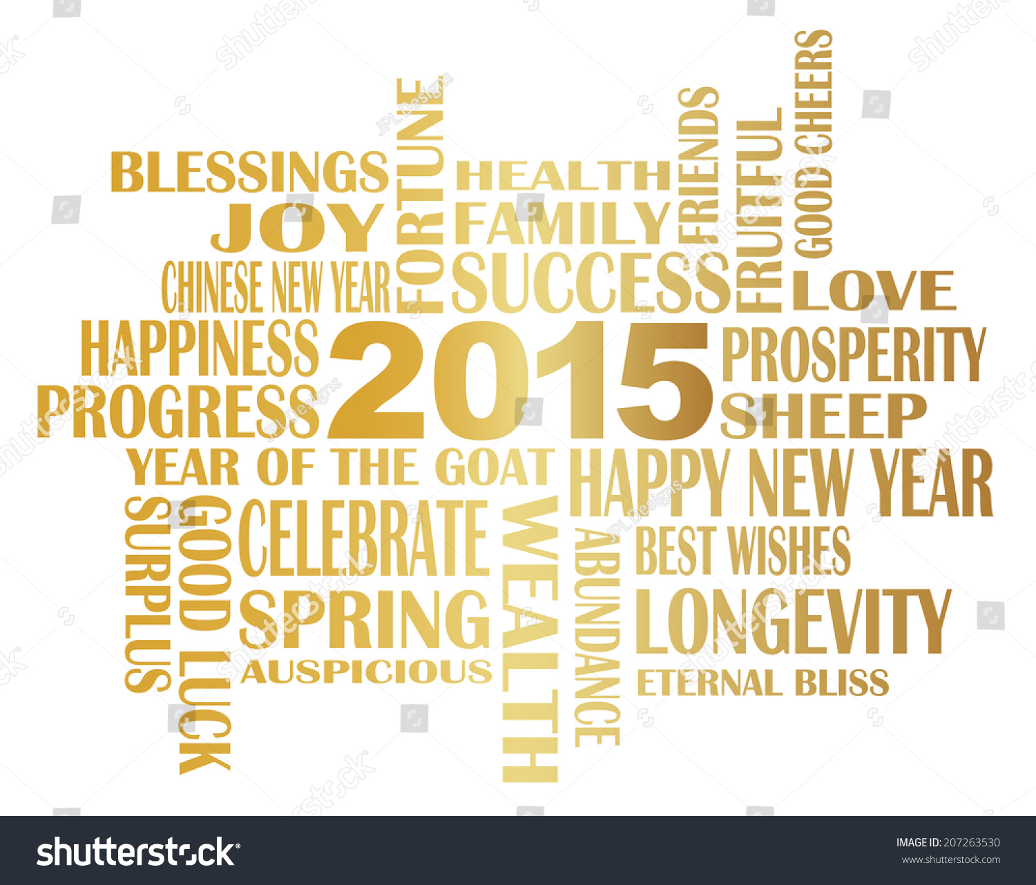 Quotes Chinese New Year Wishes: 2015 Chinese Lunar New Year English Stock Vector 207263530