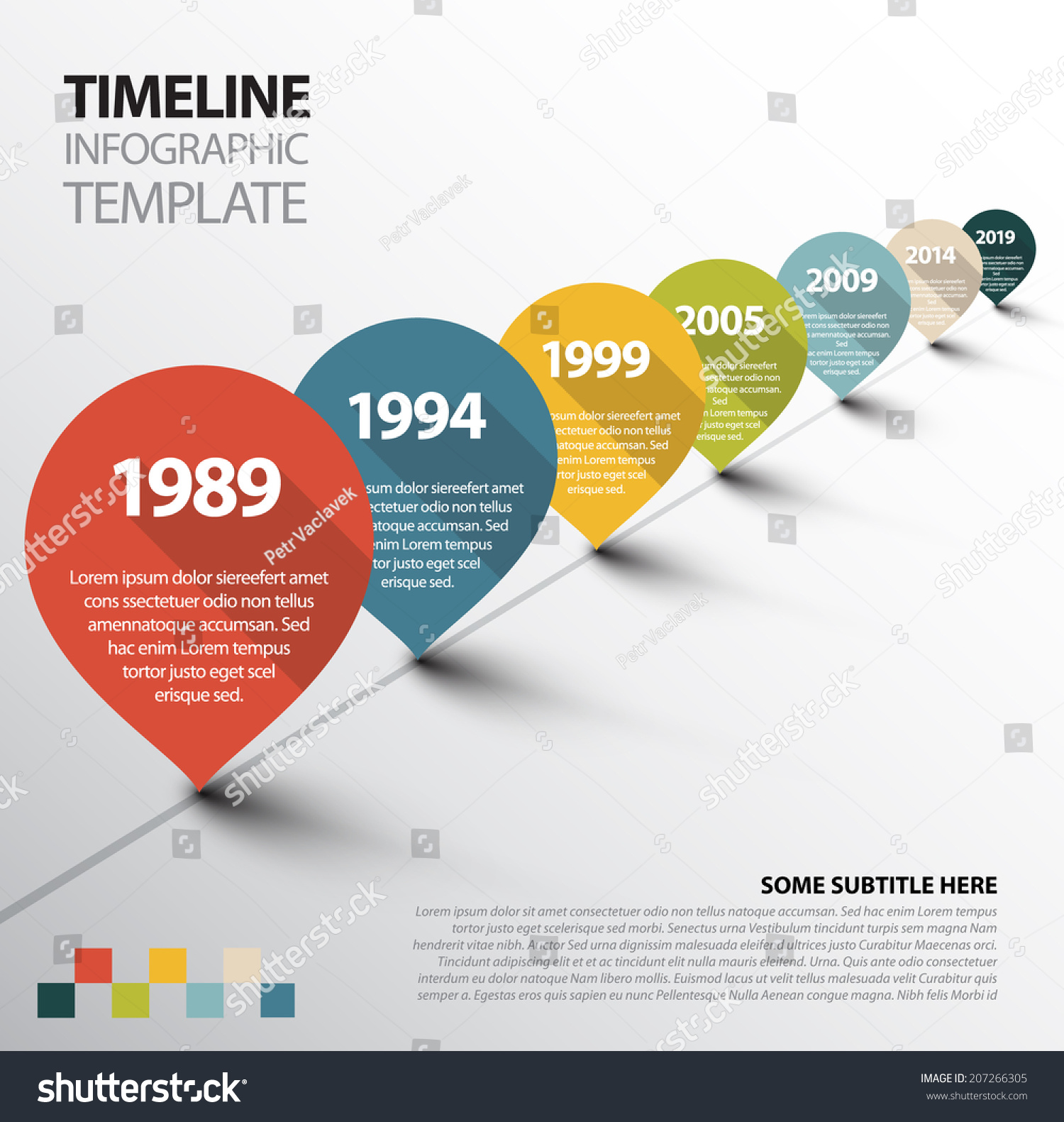 vector infographic timeline template retro pointers stock vector 207266305 shutterstock. Black Bedroom Furniture Sets. Home Design Ideas