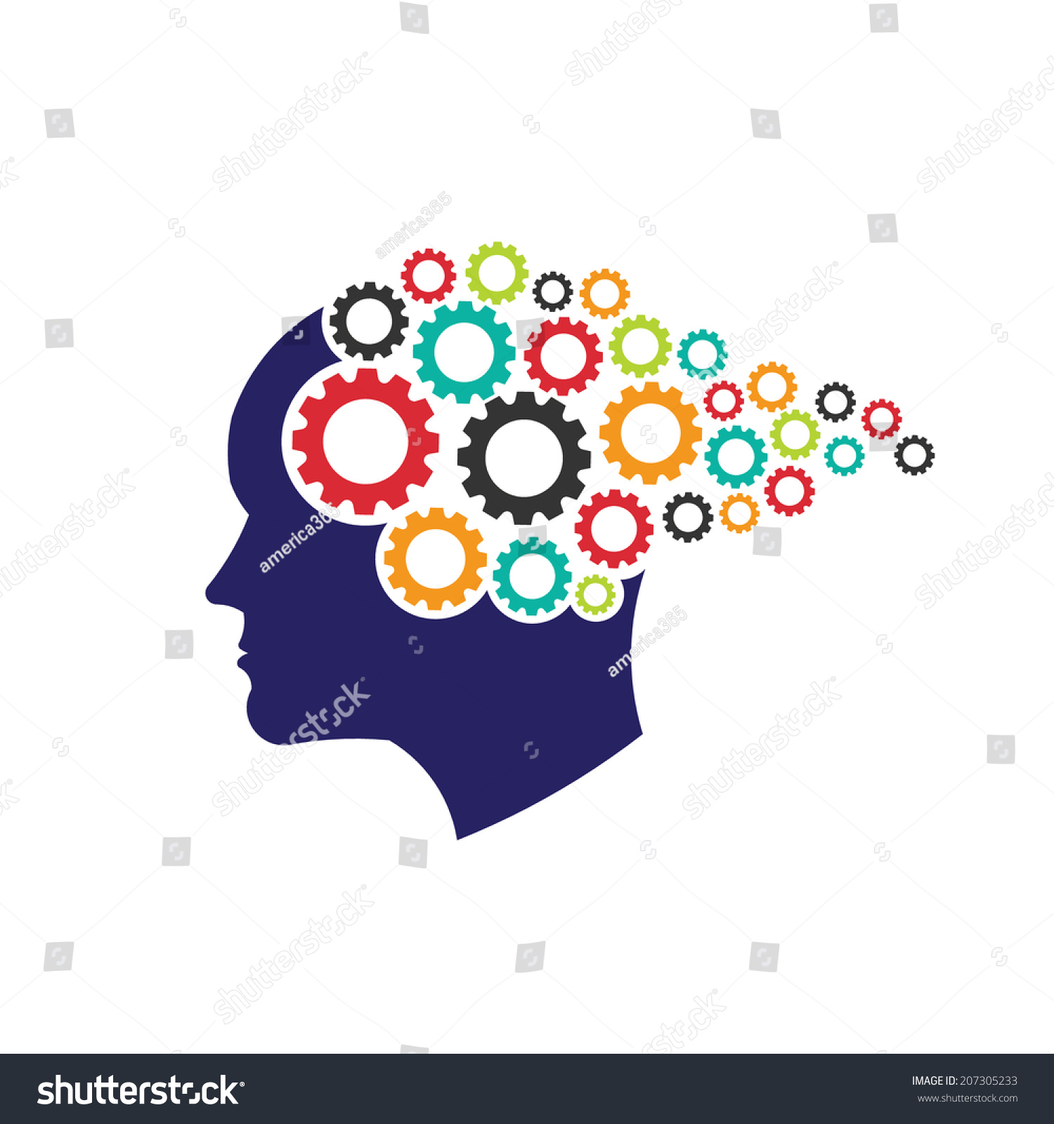 Vector Logo Head Gears Abstraction Thinking Stock Vector ...