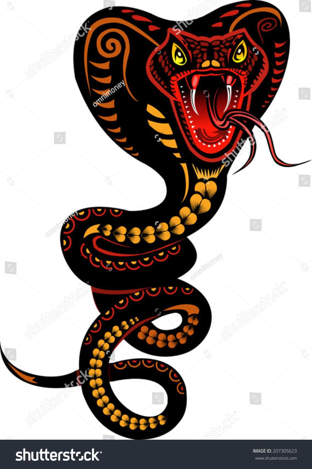 snake tattoo cobra stock vector 207305623 shutterstock. Black Bedroom Furniture Sets. Home Design Ideas