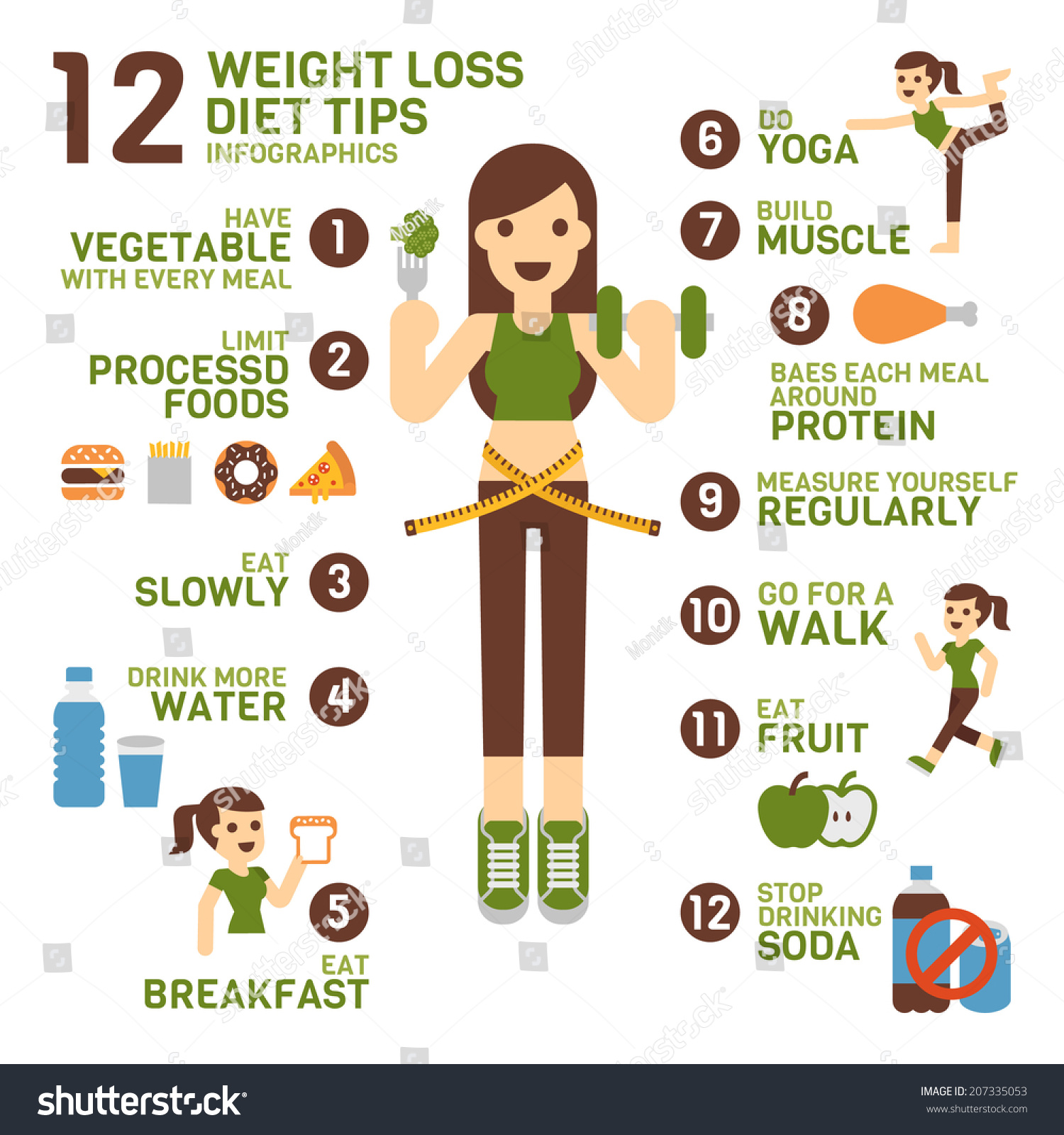12 Weight Loss Diet Tips Infographics Stock Vector ...