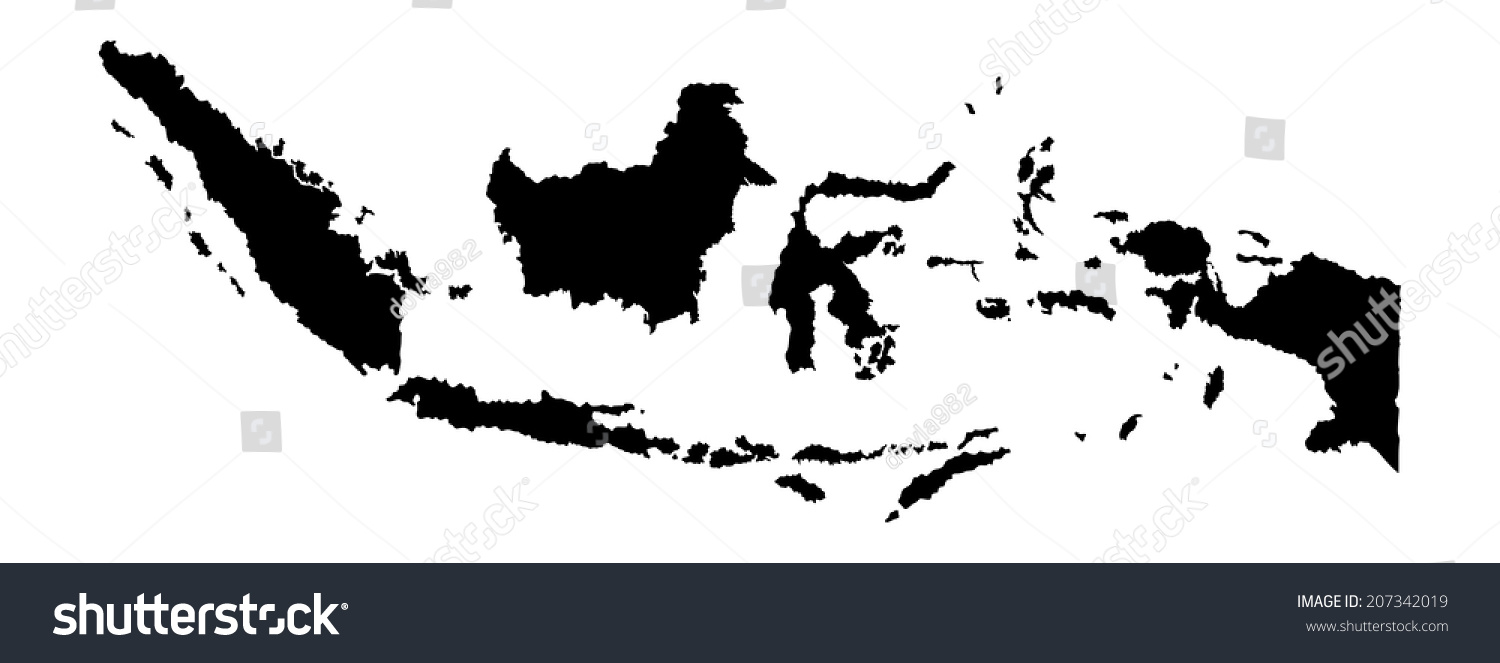 Indonesia Vector Map Isolated On White Background Silhouette