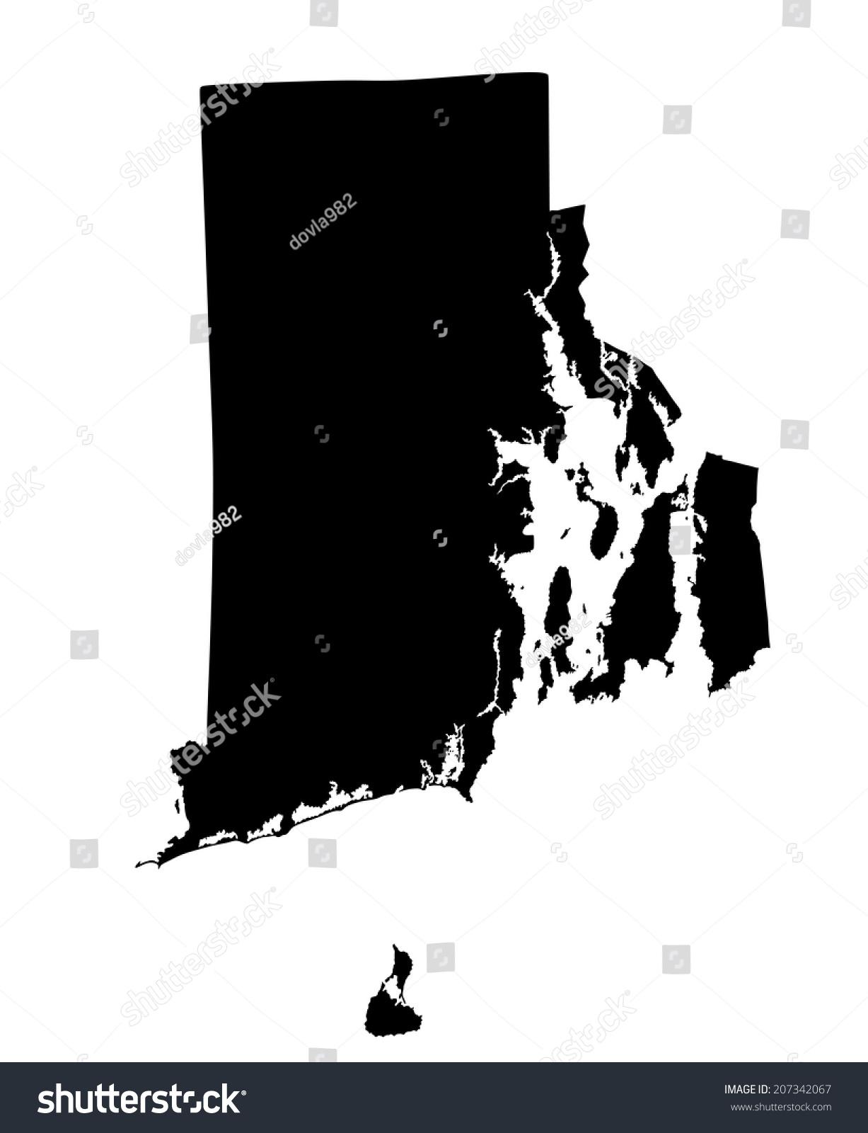 Usa State Rhode Island Vector Map Stock Vector 207342067