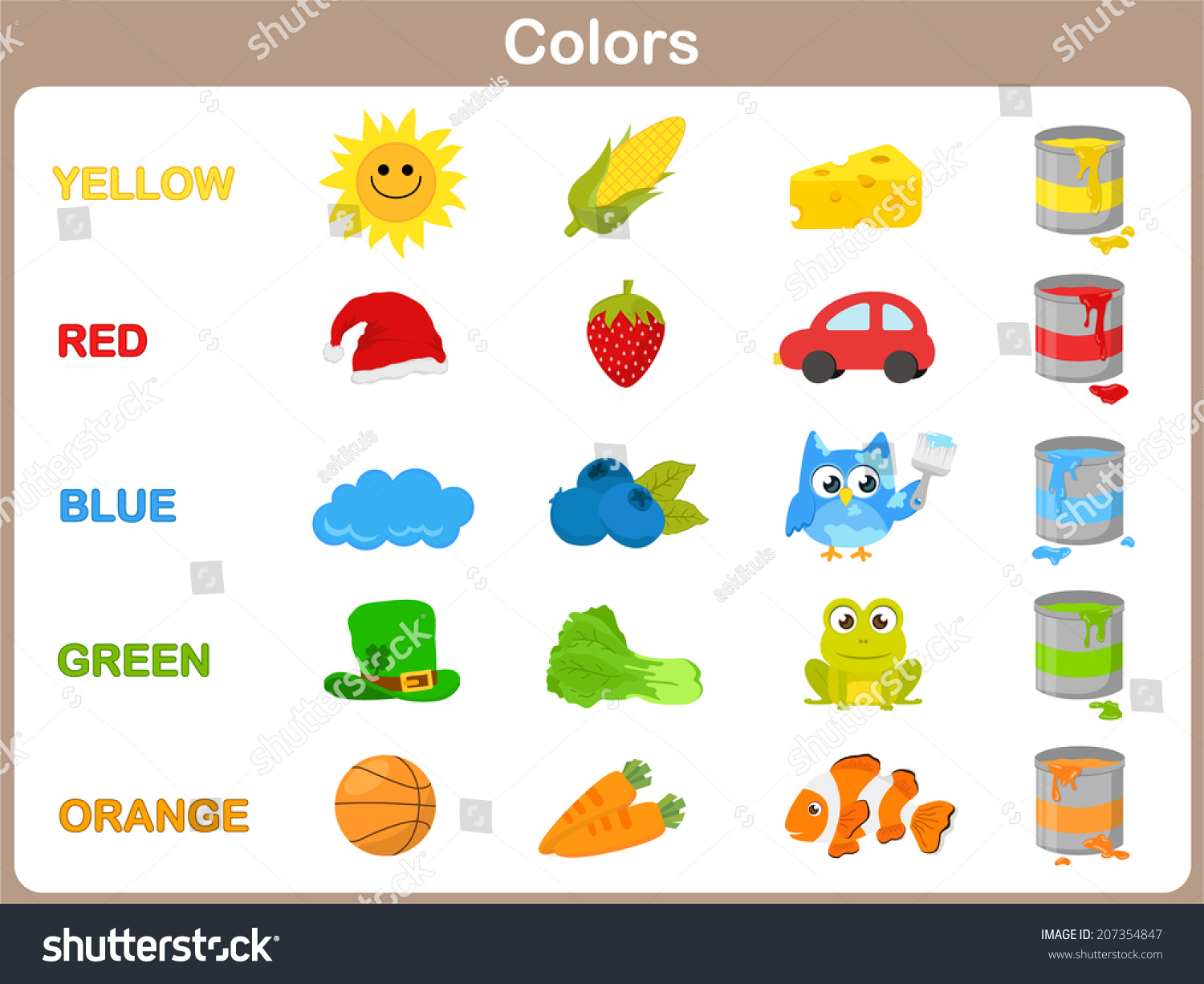 Learning Object Colors Kids Stock Vector (Royalty Free) 207354847