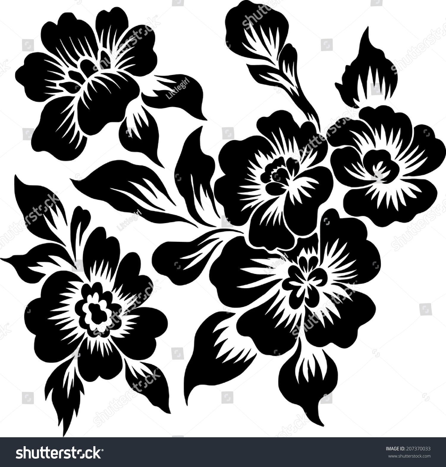 Bouquet Black Flowers Sweet Line Stock Vector Royalty Free