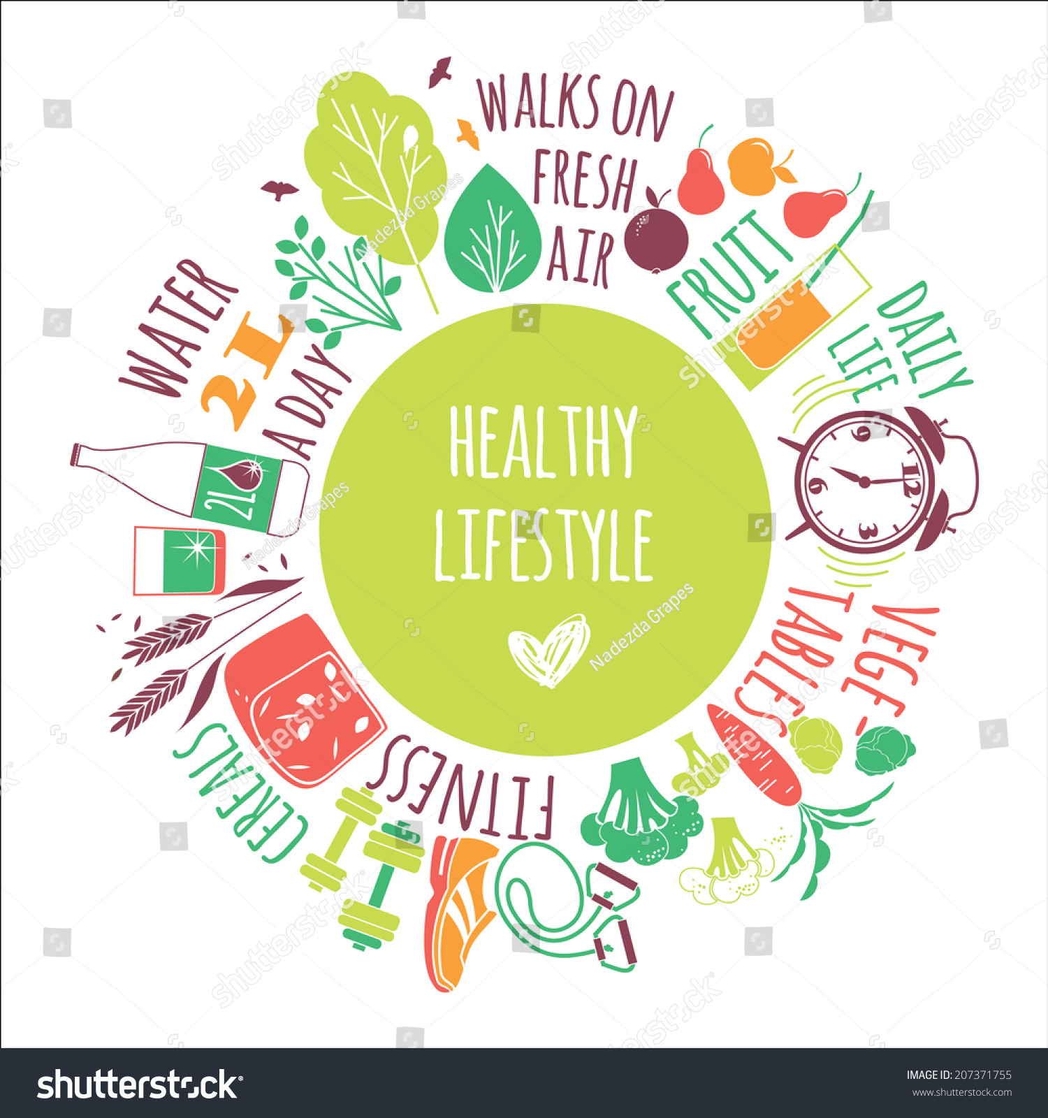 healthy lifestyle background stock vector 207371755