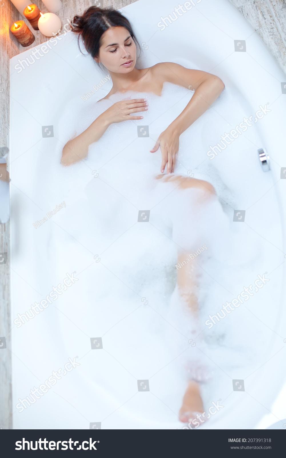Beautiful Woman Bubble Bath Stock Photo (Royalty Free) 207391318 ...