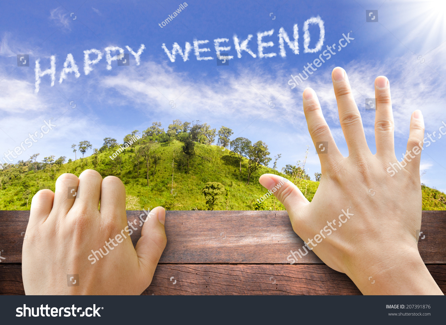 Happy Weekend Text Cloud Sky Stock Photo 207391876 ...