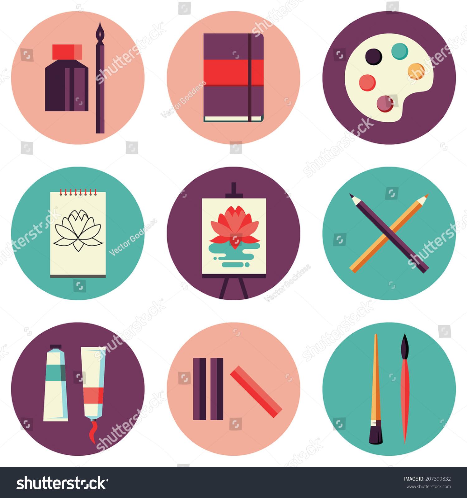 flat design colored vector illustration set stock vector