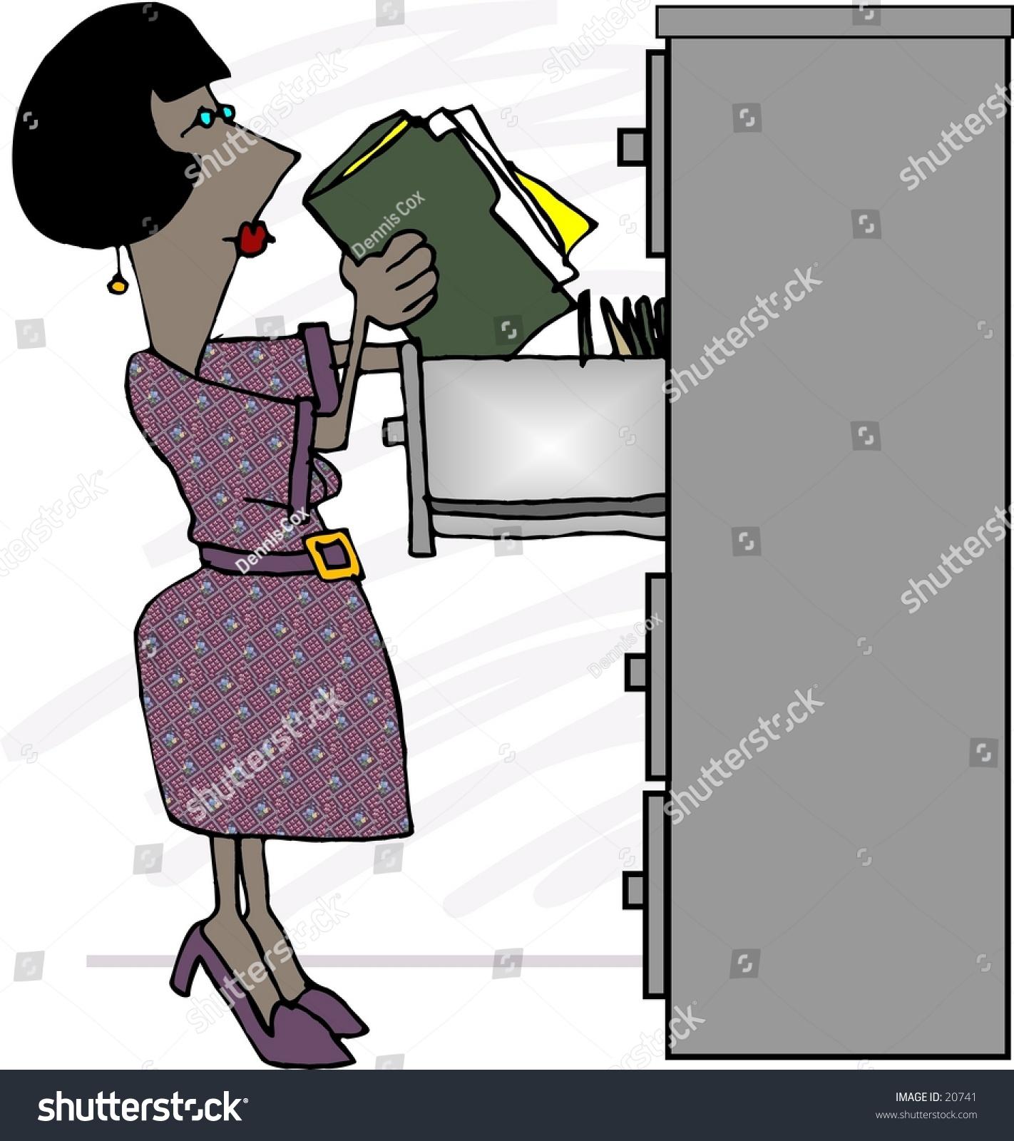 Clipart Illustration Woman Putting Files Filing Stock Illustration ...