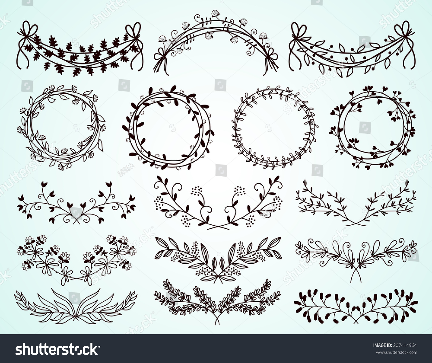 Decorative Black Flower Border Stock Image: Set Of Dainty Black And White Hand-Drawn Floral And