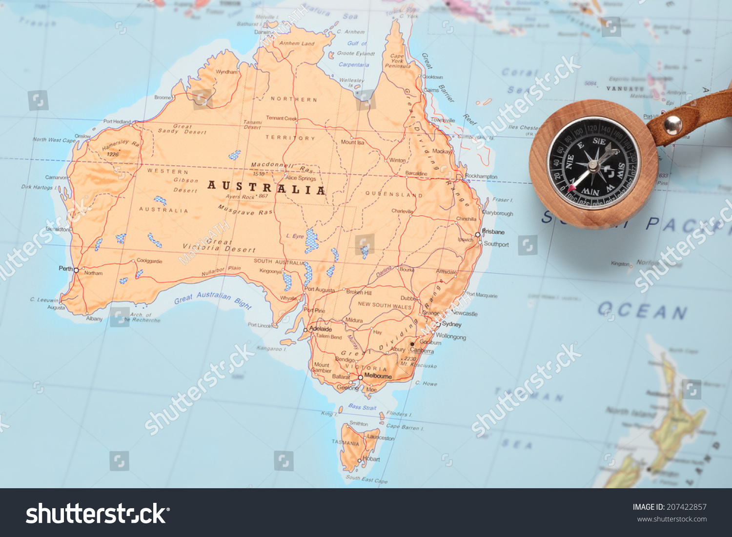 Compass On Map Pointing Australia Planning Stock Photo - Us map with compass
