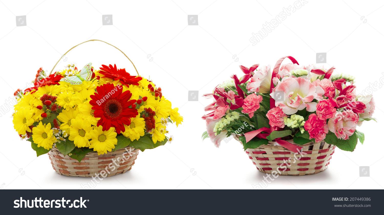 Beautiful flowers basket isolated on white stock photo royalty free beautiful flowers basket isolated on white stock photo royalty free 207449386 shutterstock izmirmasajfo