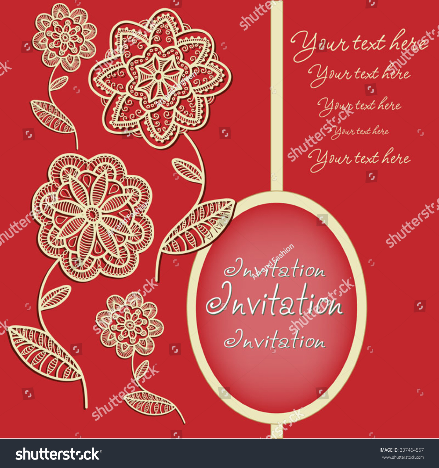 Abstract Flowers Graphic Style Lace Frame Stock Vector 207464557 ...