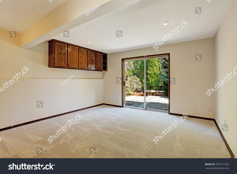 Empty Room In Soft Ivory With Glass Slide Door To Backyard Ez Canvas