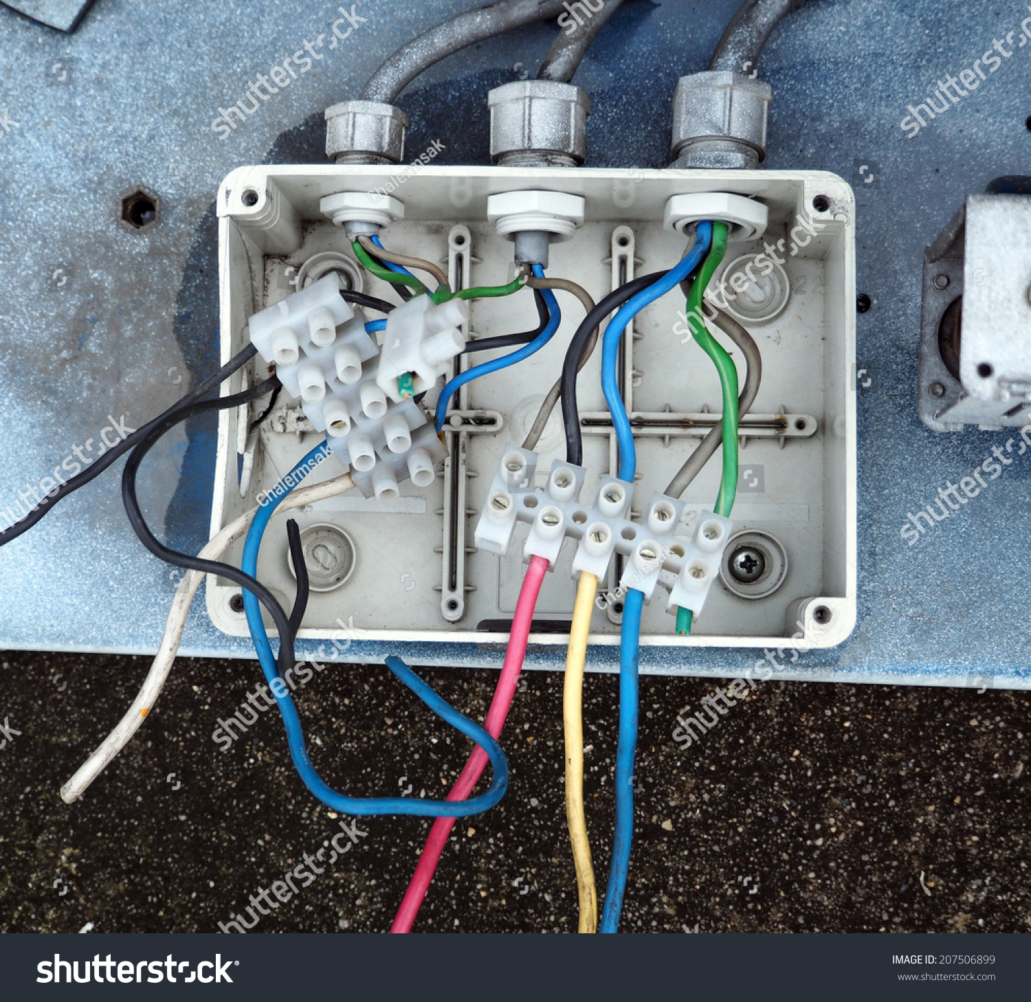 Electrical Junction Box Galvanized Conduit Pipe Stock Photo (Edit ...