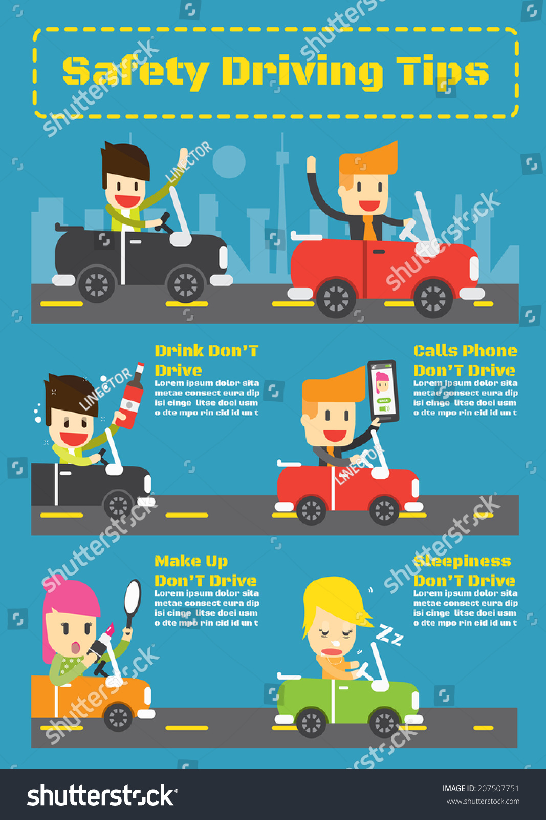 Safety Driving Tips Vector Infographic Elements