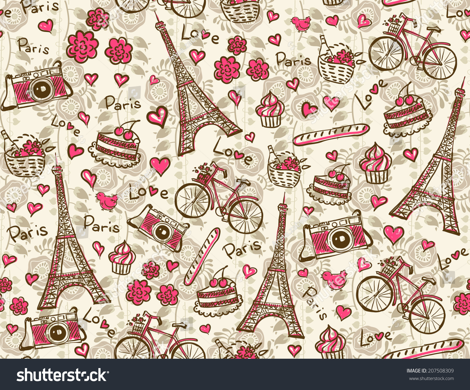 Paris Vintage Background Seamless Vector Pattern Stock
