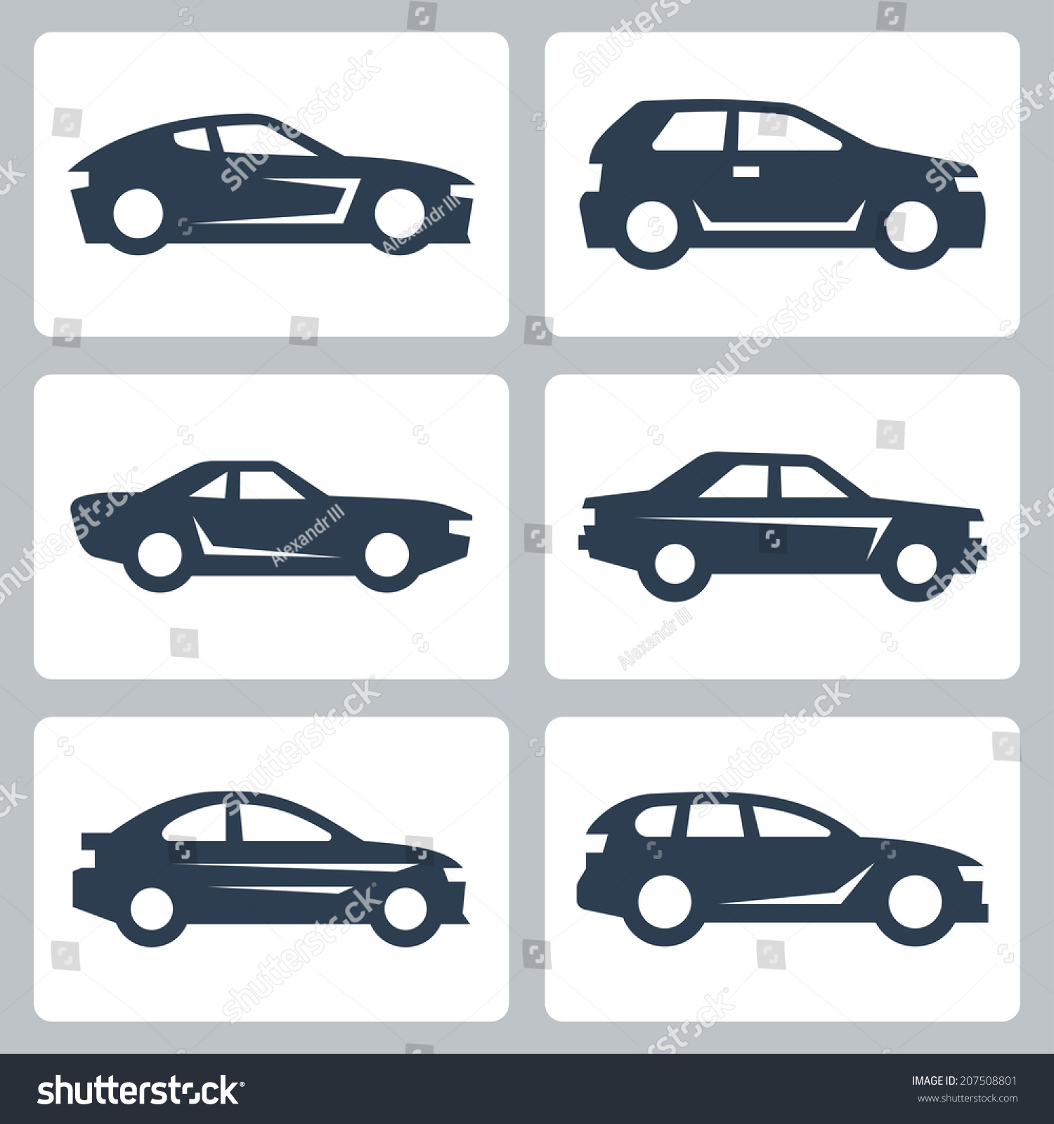 vector cars icons set side view stock vector 207508801 shutterstock. Black Bedroom Furniture Sets. Home Design Ideas