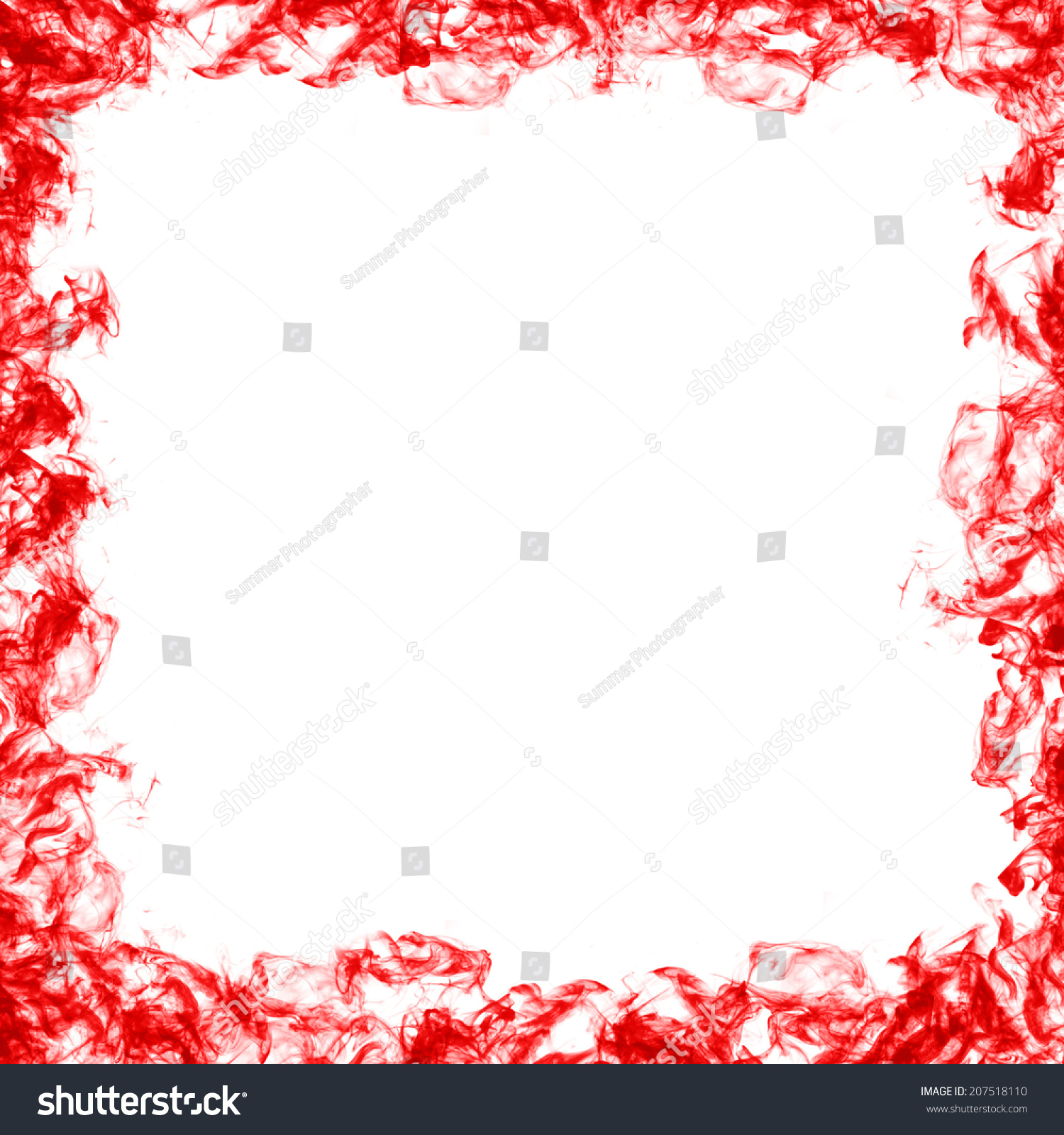 Red gift bows border with clipping path for easy background removing - Abstract Frame Red Smoke