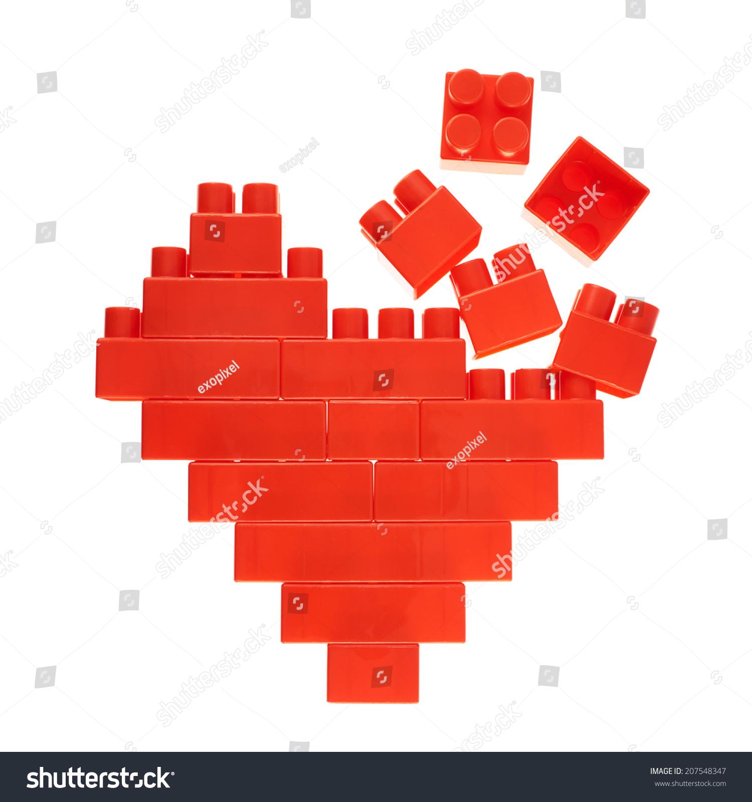 Broken heart symbol made red plastic stock photo 207548347 broken heart symbol made of red plastic toy construction bricks isolated over the white background buycottarizona