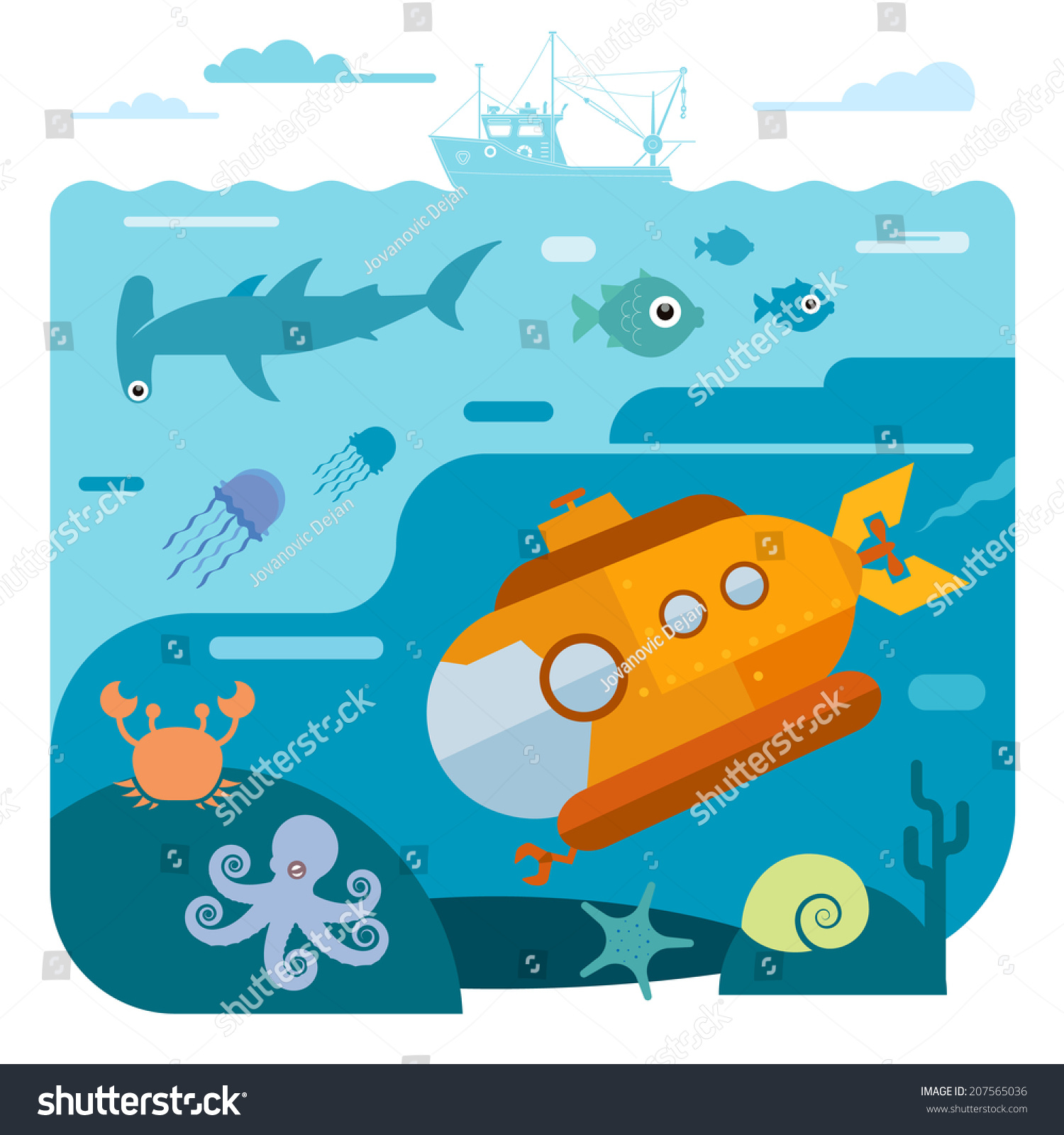 flat vector illustration underwater sea life stock vector