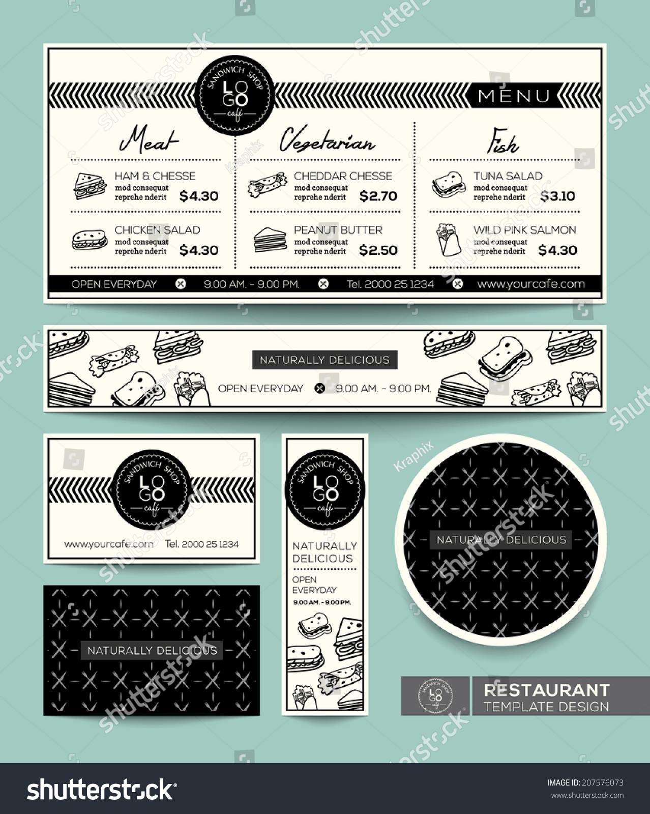 Restaurant set menu sandwich graphic design stock vector
