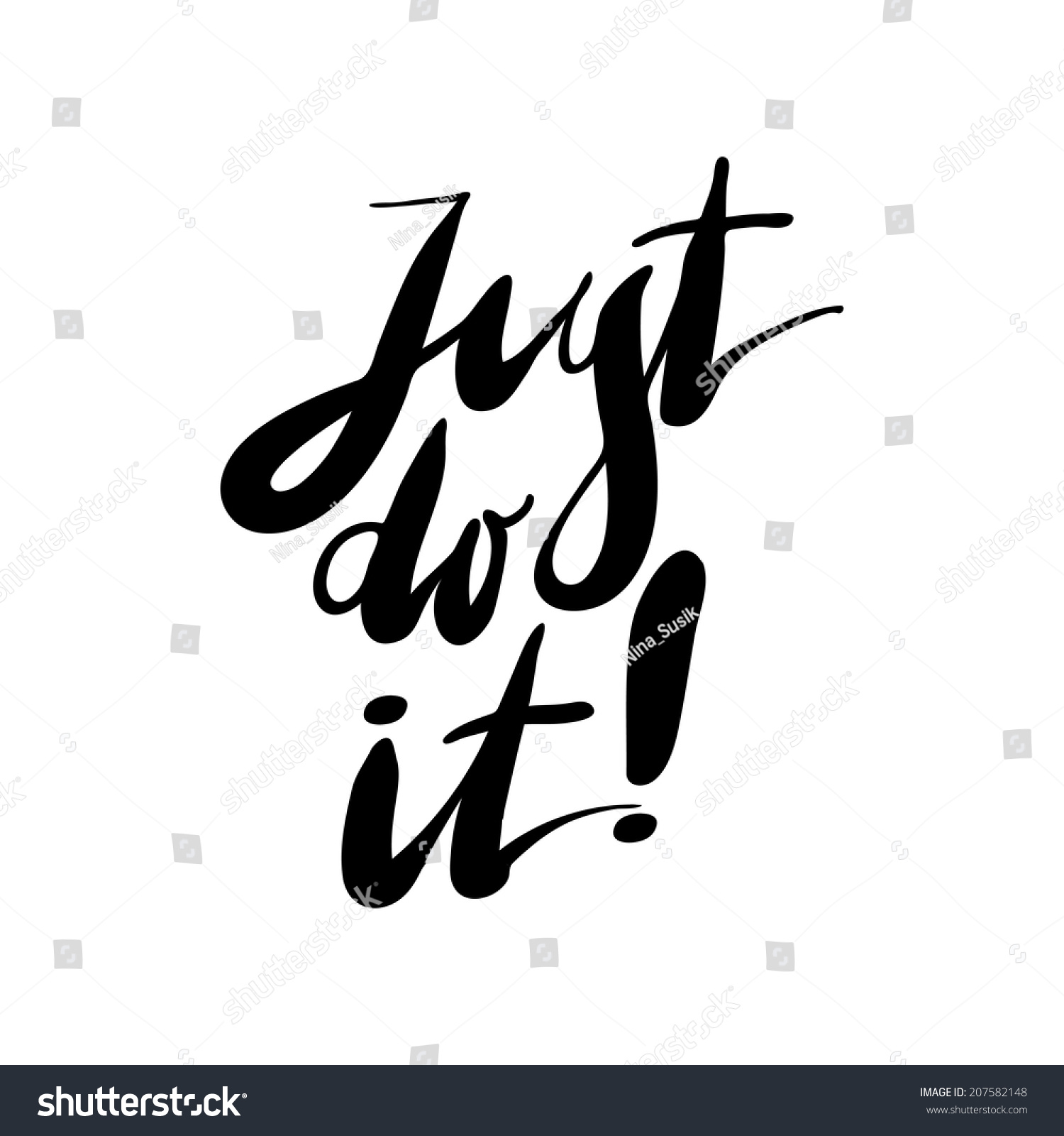 Just do it expression hand lettering stock vector