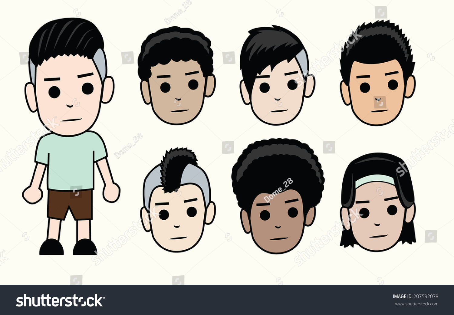 Kinds Of Boy Haircuts : Faces boys different types men hairstyles stock vector