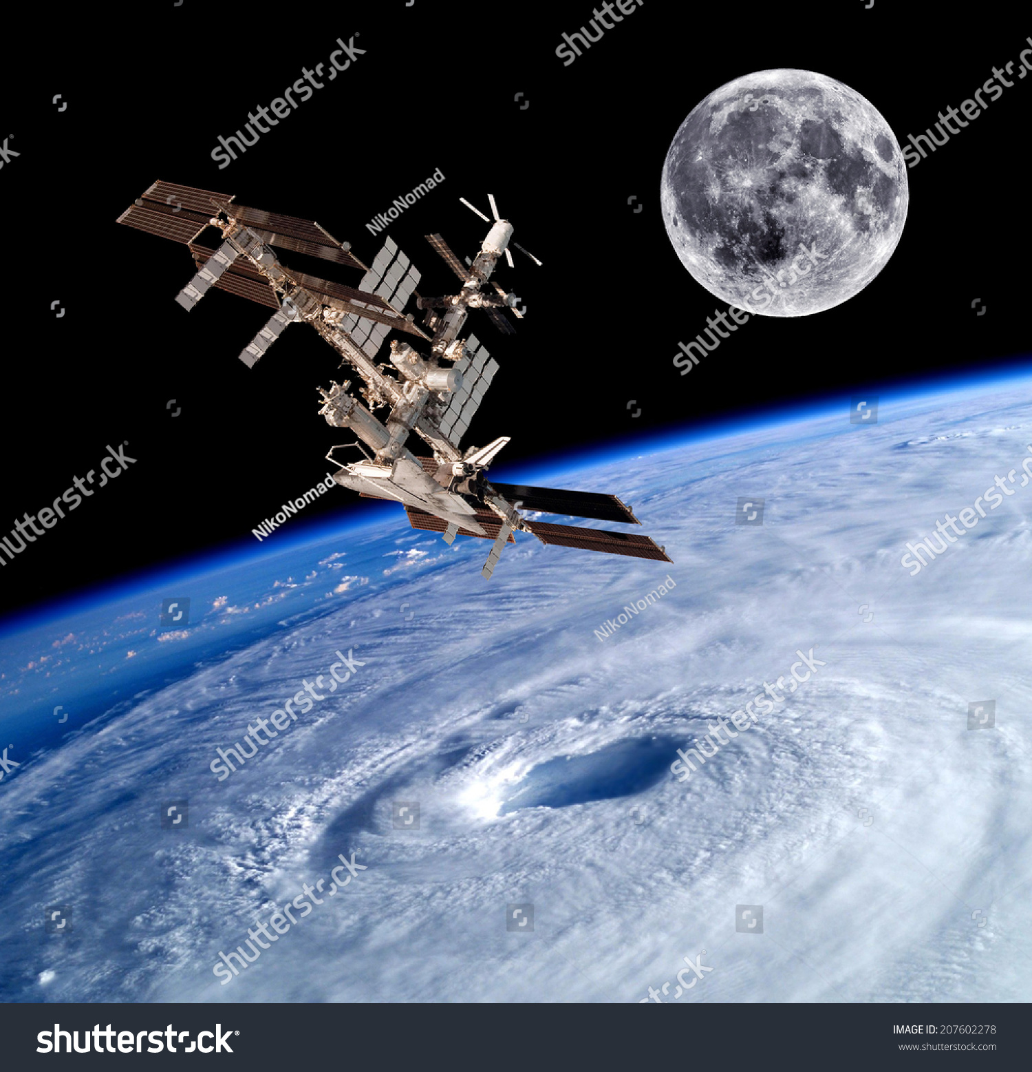 Earth Satellite Space Station Spaceship Background Stock ...