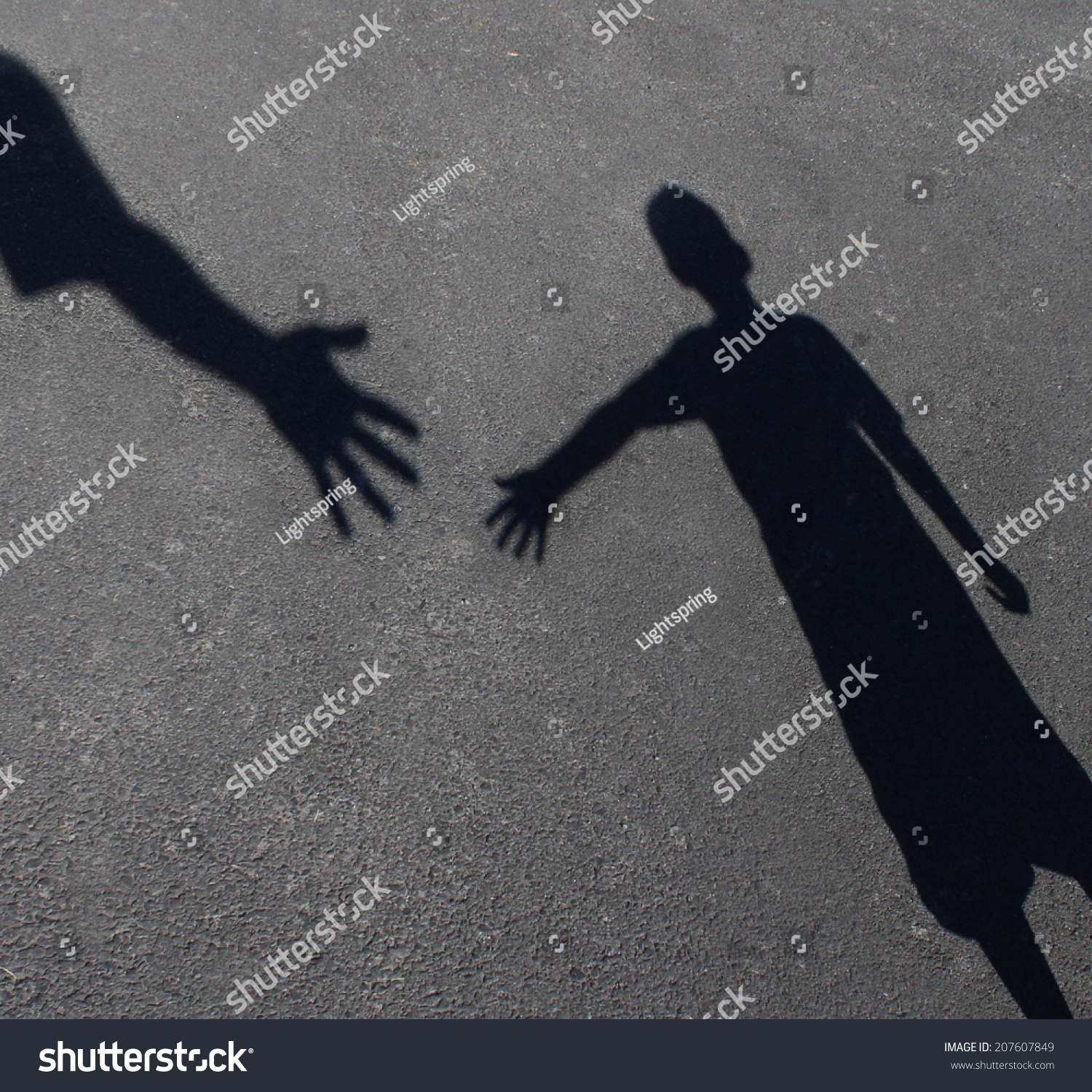 Helping Hand Shadow Adult Hand Offering Stock Photo 207607849 ...