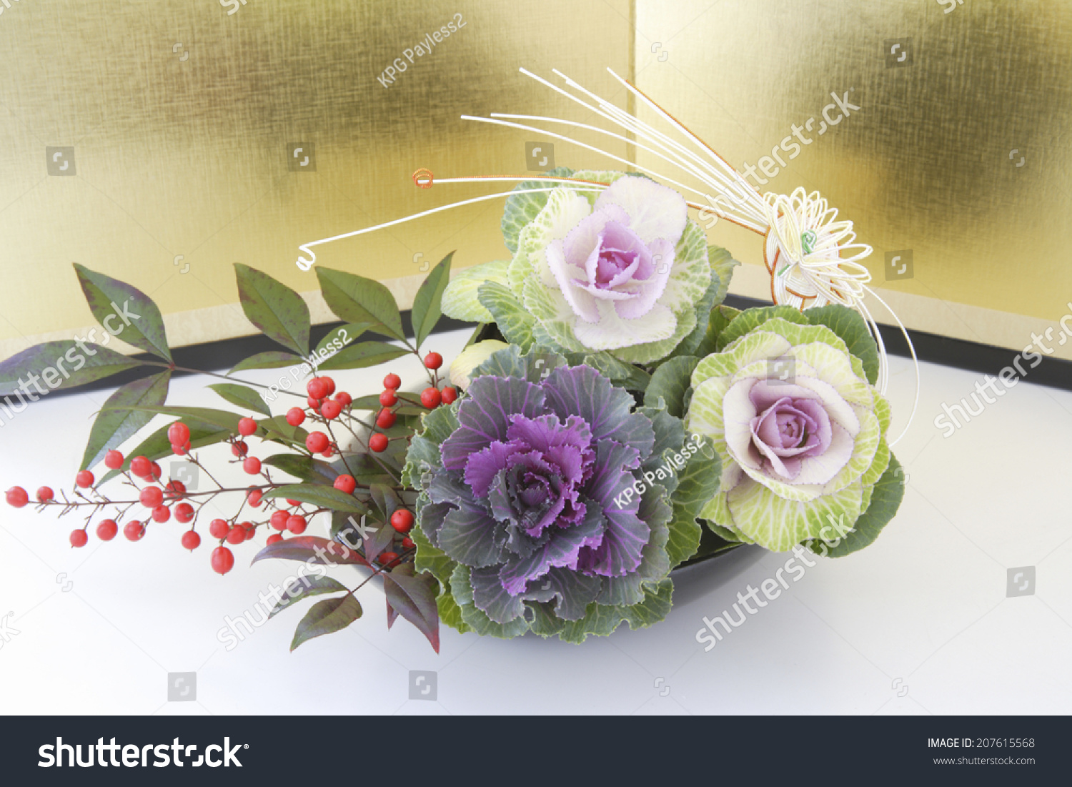 Gold Folding Screen Japanese Flower Arrangement Stock Photo Edit