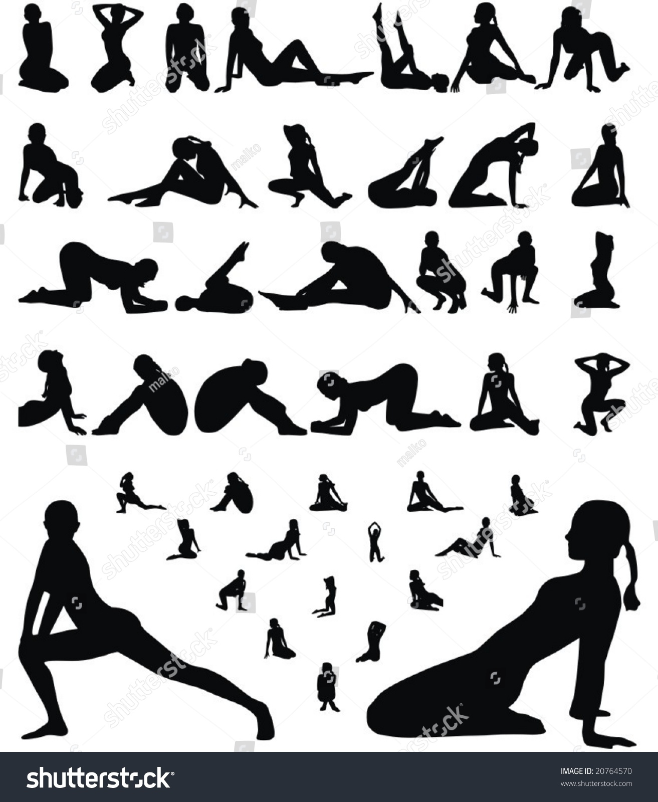 Woman Erotic And Sporty Silhouettes Collection Vector Illustration