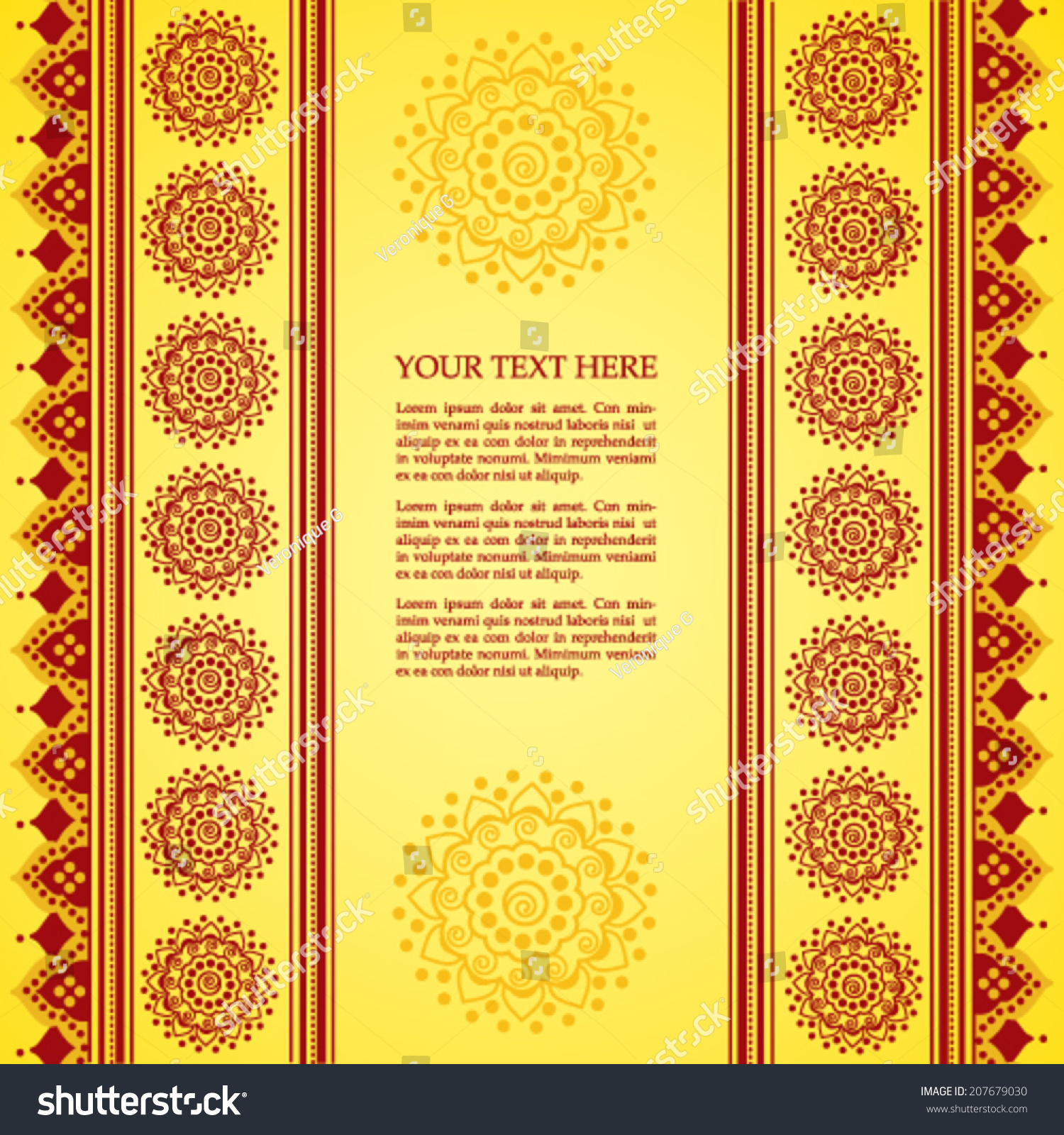 Colorful Yellow Red Traditional Indian Henna Stock Vector 2018